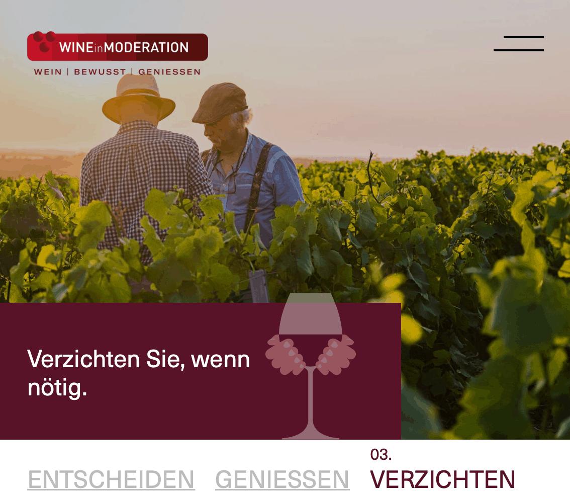 wine in Moderation webseite